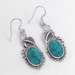 Turquoise Drop Dangle Earring Oval Shape Stone Solid 925 Sterling Silver Silver Oxidized Jewellery
