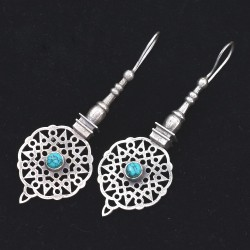 Turquoise Drop Earring Oxidized Silver Jewellery 925 Sterling Silver Women Handcrafted Jewellery