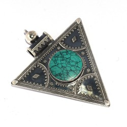 Turquoise Pendant 925 Sterling Silver Handmade Oxidized Silver Manufacture Jewelry