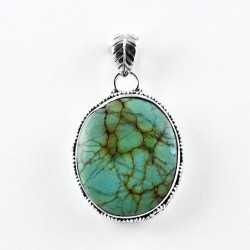 Turquoise Pendant Oval Shape Handmade 925 Sterling Silver 925 Stamped Jewelry Gift For Her