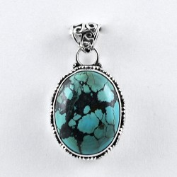 Turquoise Pendant Oval Shape Handmade 925 Sterling Silver Oxidized Jewellery Gift For Her