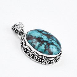 Turquoise Pendant Oval Shape Handmade 925 Sterling Silver Manufacture Silver Jewellery Oxidized Jewellery