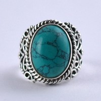 Turquoise Ring 925 Sterling Silver Handmade Oxidized Silver Jewelry Wholesale Jewelry