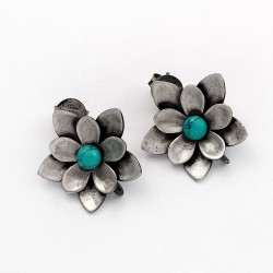 Natural Turquoise Stud Earring 925 Sterling Silver Handmade Oxidized Jewelry Gift For Her