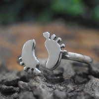 Unique Baby Feet Design Silver Band Ring 925 Sterling Silver Jewellery Gift For Her