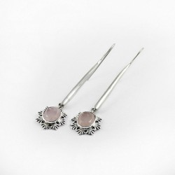 Fantastic Light Rose Quartz 925 Sterling Silver Earring