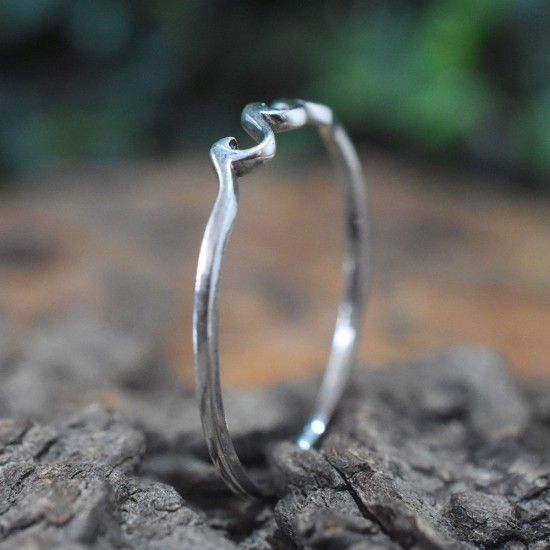 Wave Ring 925 Sterling Silver Handmade Silver Band Ring Girls Fashion Jewellery Gift For Her