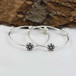 Natural Cubic Zirconia Bangle 925 Sterling Silver Handmade Boho Jewelry