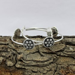 Natural White CZ Gemstone Bangle 925 Sterling Silver Handmade Bohemian Jewelry