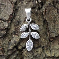 White Cubic Zirconia Marquise Shape 925 Sterling Silver Pendant Jewelry