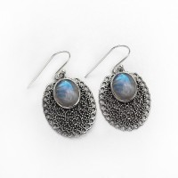 Amazing White Fire !! Rainbow Moonstone 925 Sterling Silver Handmade Dangle Earring