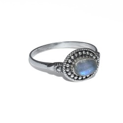 White Rainbow Moonstone Ring 925 Sterling Silver Birthstone Ring Jewelry