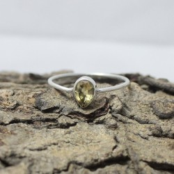 Attractive Pear Shape Yellow Citrine 925 Sterling Silver Ring