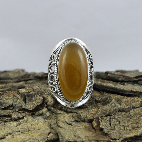 Yellow Onyx 925 Sterling Silver Solitaire Ring Handmade Jewelry