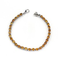 Yellow Citrine Oval Shape 925 Sterling Silver Handmade Bracelet Jewelry For Her